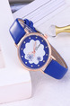 Blue Leather Band Belt Pin Buckle Quartz Watch