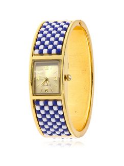 Golden Blue and White Stainless Steel Band Bangle Quartz Watch