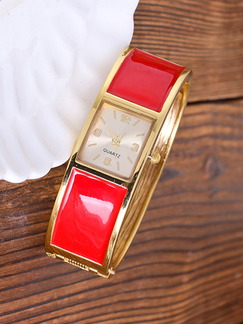 Golden and Red Stainless Steel Band Bangle Quartz Watch