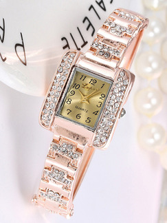 Rose Gold Alloy Band Rhinestone Bracelet Quartz Watch