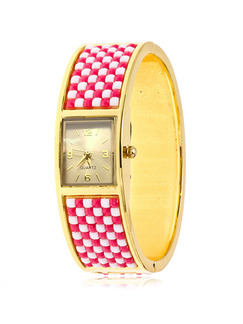 Golden Red and White Stainless Steel Band Bangle Quartz Watch