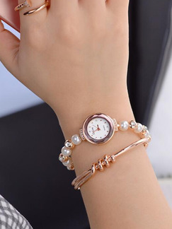Rose Gold Alloy Band Rhinestone Pearl Quartz Watch