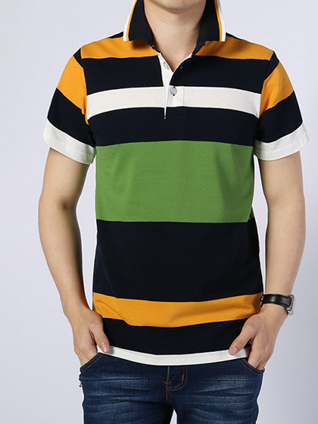 Colorful Knitted Polo Stripe Men Shirt for Casual