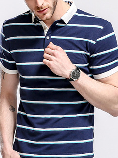 Blue Plus Size Placket Front Polo Knitted Stripe Contrast Men Shirt for Casual