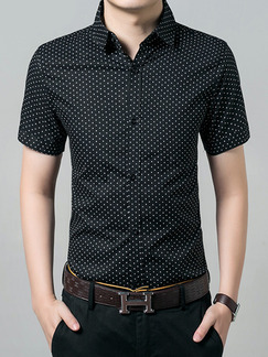 Black Shirt Printed Slim Cardigan Button Up Plus Size Men Shirt for Casual Office