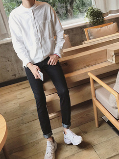White Loose Stand Collar V Neck Placket Front Button Up Long Sleeve Men Shirt for Casual Party