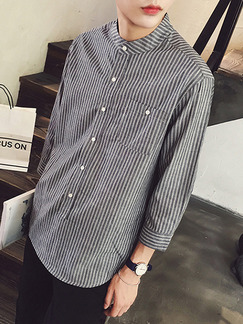 Grey and White Literary Loose Stand Collar Stripe Plus Size Men Shirt for Casual Office Party