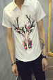 White Colorful Shirt Located Printing Zipped Plus Size Men Shirt for Casual Party