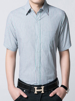 Blue Plus Size Stripe Shirt Botton Up Men Shirt for Casual Office