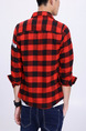 Red Black and White Shirt Lattice Located Printing Grid Long Sleeve Botton Up Plus Size Men Shirt for Casual Party