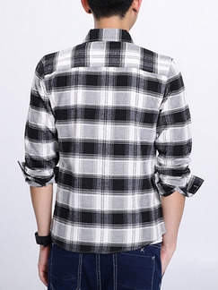Black and White Shirt Loose Lattice Cardigan Plus Size Botton Up Men Shirt for Casual