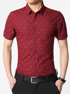Red Plus Size Slim Shirt Cardigan Printed Bottom Up Men Shirt for Casual Office