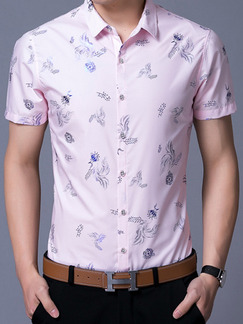 Pink Slim Shirt Cardigan Printed Plus Size Bottom Up Men Shirt for Casual Office