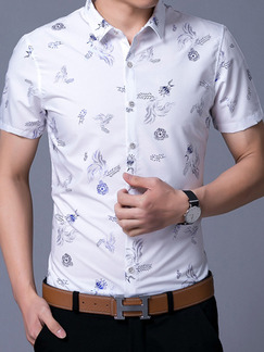 White Slim Shirt Cardigan Printed Bottom Up Plus Size Men Shirt for Casual Office