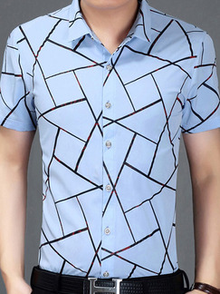 Blue Plus Size Slim Shirt Cardigan Geometric Pattern Bottom Up Men Shirt for Casual Office