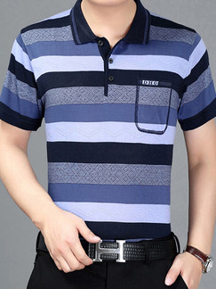 Blue Plus Size Polo Knitted Placket Front Stripe Men Shirt for Casual Office