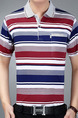 Red White and Blue Plus Size Polo Placket Front Knitted Stripe Men Shirt for Casual Office