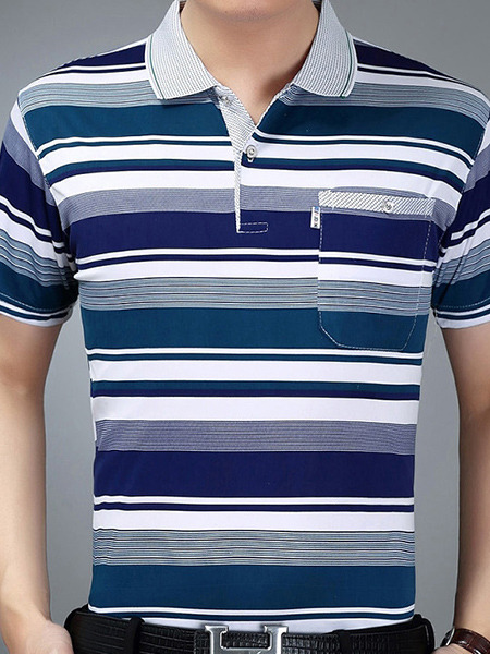 Blue and White Plus Size Polo Placket Front Knitted Stripe Men Shirt for Casual Office
