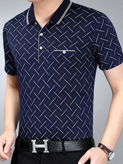 Blue Plus Size Polo Placket Front Knitted Printed Men Shirt for Casual Office