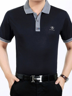 Black and Grey Plus Size Polo Placket Front Knitted Linking Contrast Men Shirt for Casual Office