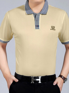 Beige and Grey Plus Size Polo Placket Front Knitted Linking Contrast Men Shirt for Casual Office