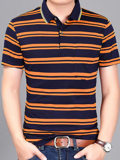Orange and Blue Plus Size Polo Placket Front Knitted Stripe Men Shirt for Casual Office