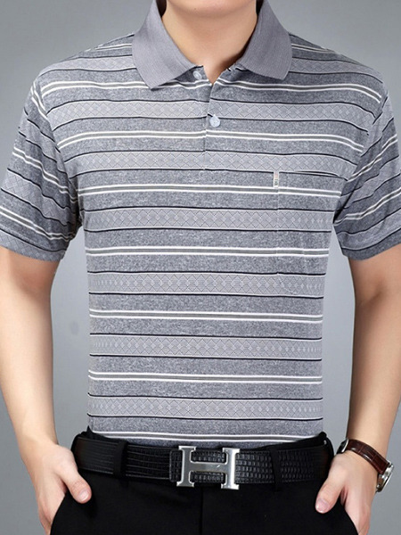 Grey Plus Size Polo Placket Front Knitted Stripe Men Shirt for Casual Office
