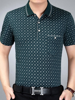 Green Slim Plus Size Polo Placket Front Knitted Printed Men Shirt for Casual Office