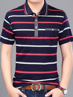 Blue Red and White Plus Size Polo Placket Front Knitted Stripe Men Shirt for Casual Office