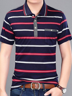 Pasabuy Blue Red and White Plus Size Polo Placket Front Knitted Stripe Men Shirt for Casual Office