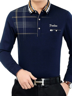 Blue Plus Size Polo Placket Front Knitted Located Printing Long Sleeve Men Shirt for Casual Office