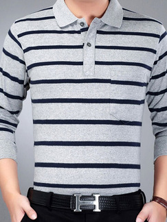 Grey and White Plus Size Polo Placket Front Knitted Stripe Men Shirt for Casual Office