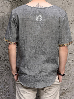 Grey Plus Size Literary T V Neck Linking Laced Men Shirt for Casual