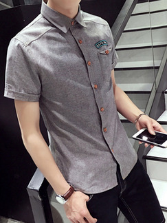 Grey Shirt Cardigan Embroidery Slim Plus Size Men Shirt for Casual Party