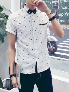 White Slim Plus Size Shirt Cardigan Contrast Linking Printed Bottom Up Men Shirt for Casual Party