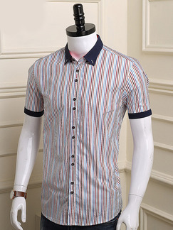 Colorful Plus Size Shirt Cardigan Stripe Contrast Linking Men Shirt for Casual Party