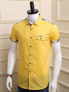 Yellow Plus Size Shirt Cardigan Contrast Linking Lattice Bottom Up Men Shirt for Casual Party