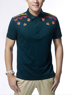 Pasabuy Green Plus Size Polo Placket Front Located Printing Men Shirt for Casual