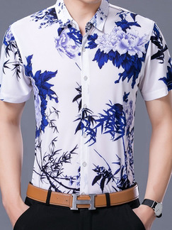 White and Blue Plus Size Shirt Slim Printed Button Up Men Shirt for Casual Office