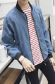 Blue Plus Size Loose Stand Collar Located Printing Varsity Men Jacket for Casual