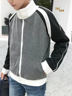 Gray Black and White Knitted Loose Plus Size Contrast Lapel Men Jacket for Casual