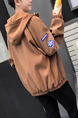 Khaki Plus Size Embroidery Bat Sleeve Hooded Loose  Men Jacket for Casual