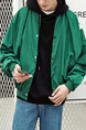 Green Plus Size Bat Drop Shoulder Stand Collar Loose Located Printing Hooded Varsity Men Jacket for Casual