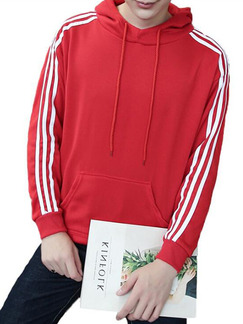 Red and White Plus Size Knitted Contrast Three Bars Hooded Drawstring Men Jacket for Casual Sports