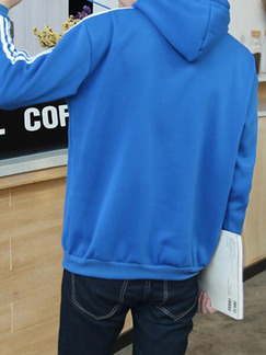 Blue and White Plus Size Knitted Contrast Three Bars Hooded Drawstring Men Jacket for Casual Sports