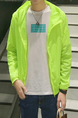 Neon Green Plus Size Hooded Transparent Sun Protection Men Jacket for Casual