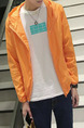 Orange Plus Size Hooded Transparent Sun Protection Men Jacket for Casual