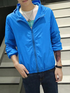 Blue Plus Size Hooded Transparent Sun Protection Men Jacket for Casual