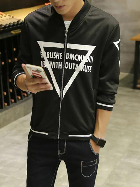 Black Plus Size Contrast Stand Collar Letter Pattern Zipped Located Printing Men Jacket for Casual
