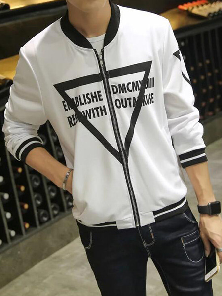 White Plus Size Contrast Ribbed Stand Collar Letter Pattern Zipped Located Printing Men Jacket for Casual